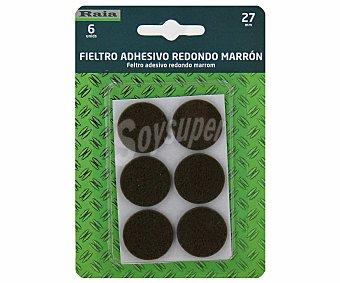 RAIA Fieltro Adhesivo Redondo Marron de Diámetro 27 Milímetros y Grosor de 3 Milímetros 1 Unidad