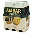Cerveza sabor limón 0,0% alcohol pack 6 botellas 25 cl Ambar