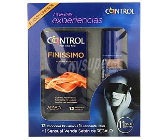 Control Estuche nuevas experiencias 12 condones finissimo + 1 lubricante calor + 1 venda de satén de regalo 1 pack