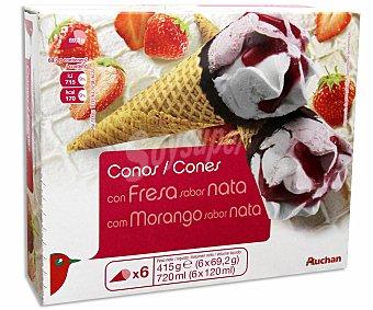 Auchan Conos sabor nata y fresa con salsa de fresa 6 Unidades de 120 Mililitros