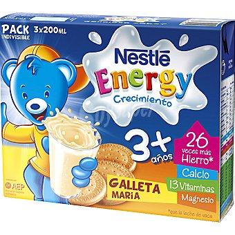 Nestlé Leche Crecimiento Líquida Infantil 3+ con Galleta María - Estuche 600 ml Pack 3x200 ml