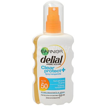 Delial Garnier Spray corporal protector transparente FP-50+ resistente al agua Clear Protect Spray 200 ml