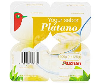 Auchan Yogur con sabor a plátano Pack de 4 unidades de 125 gramos