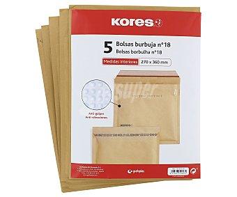 Kores Sobres de papel Kraft de tamaño 370 x 360 milímetros de color marrón, con burbujas en su interior del número 18 5 unidades