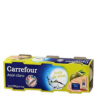 Carrefour Atún claro en aceite de oliva Pack de 3x52 g