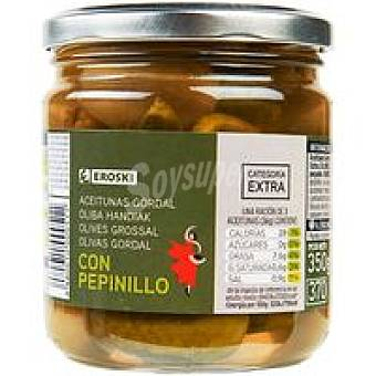 Eroski Aceitunas gordal con pepinillo Frasco 180 g