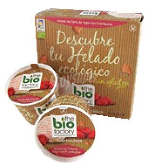 Bio factory Helado tarta yogur frambuesa sin gluten Pack de 4x100 ml.
