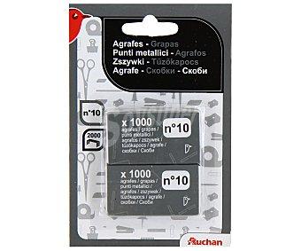 Auchan Lote de 2 paquetes de 1000 grapas metálicas rectangulares del número 10 1 unidad