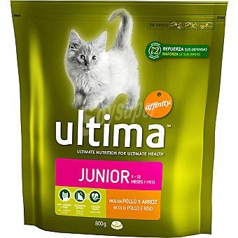 Ultima Affinity Alimento para gatos rico en pollo y arroz Health Cat Junior Paquete 800 g