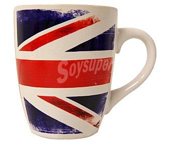 VERSA Mug o taza trande alta con asa para desayunos con capacidad de 355 mililitros, fabricada en porcelana y decorada con la bandera Británica 1 Unidad
