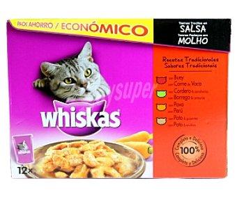 Whiskas Alimento completo para gatos (buey, Cordero, Pavo y Pato) 12 Bolsas de 100 Gramos