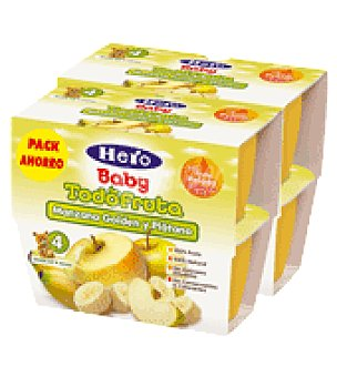 Hero Baby Tarrito todofruta manzana golden y plátano pack de 8x100 g