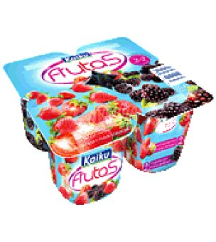 Kaiku Yogur con frutas rojas fresas y moras Pack de 4x125 g