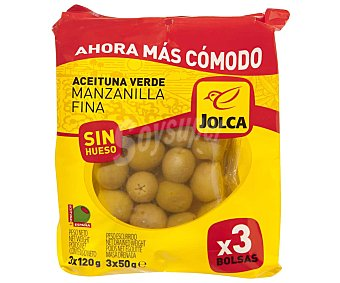 Jolca Aceitunas verdes manzanilla fina sin hueso Bolsa de 3 uds