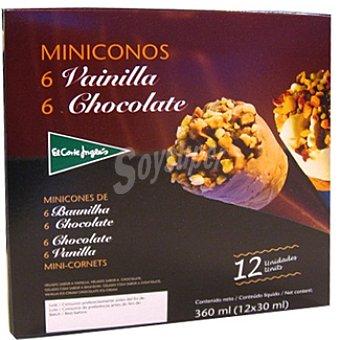 El Corte Inglés Minicono con helado de vainilla y chocolate estuche 360 ml 12 unidades