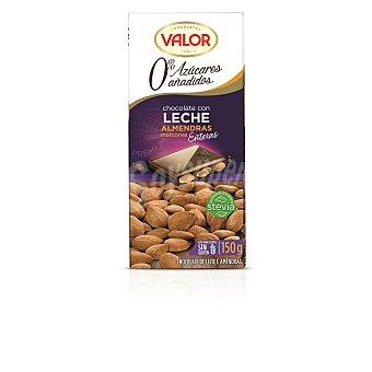 Valor Chocolate con leche-almendras sin azúcar Tableta 150 g