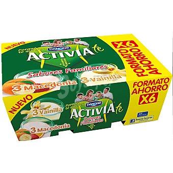 Activia Danone Yogur 3 sabor vainilla + 3 yogur sabor macedonia Pack 6 unidades 125 g