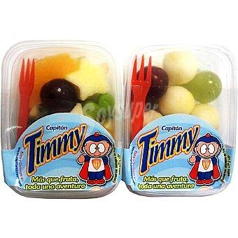 CAPITAN TIMMY Frutas variadas peladas en bolitas Pack 2 tarrinas 140 g