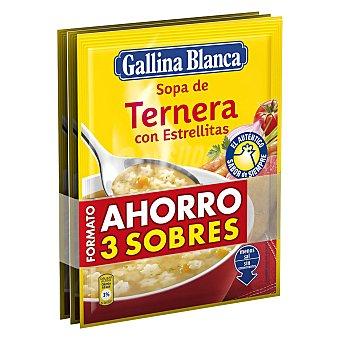 Gallina Blanca Sopa de ternera con estrellitas Pack de 3 sobres de 73 g