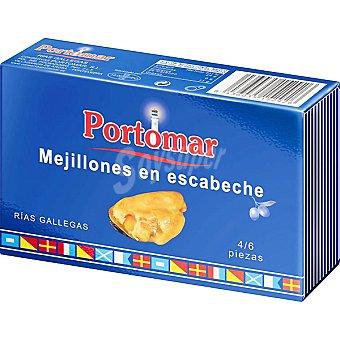 PORTOMAR SERIE NAUTICA Mejillones en escabeche de las rias gallegas 4-6 piezas lata 68 g Lata 68 g