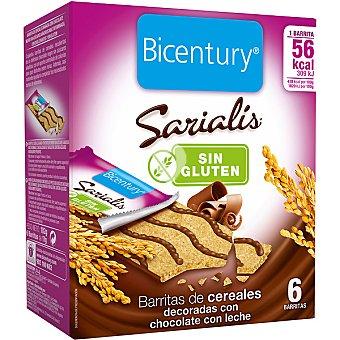 Barritas de cereales decoradas con chocolate con leche sin gluten