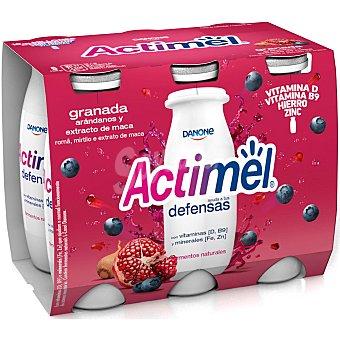 Actimel Danone Yogur líquido Granada, Arándanos y Extracto de Maca Pack 6 x 100 g