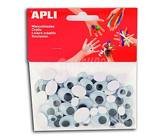 APLI Bolsa de 75 ojos móviles ovalados, adhesivos y de goma eva 1 unidad