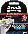 Quattro Titanium Precision - Cuchillas de afeitar (4 unidades) pack 4 unid Wilkinson