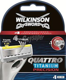 Wilkinson Quattro Titanium Precision - Cuchillas de afeitar (4 unidades) pack 4 unid