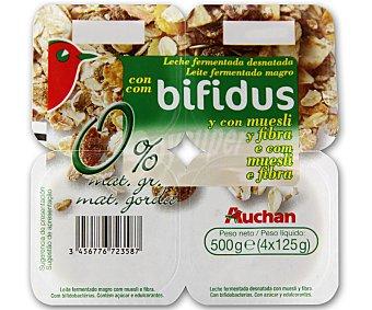 Auchan Yogur sin grasas con bifidus, muesli y fibra (leche fermentada desnatada con muesli, fibra y bifidobacterias. Con azúcar y edulcorantes) Pack de 4 unidades 125 gramos