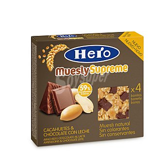 Hero Barrita cacahuete chocolate leche Pack de 4x24 g