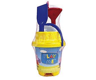 EURASPA Conjunto de juguetes de playa (pala, rastrillo, regadera...) y un cubo de 40x20 centímetros para transportalos y guardarlos con el diseño unos simpáticos cerditos 1 unidad