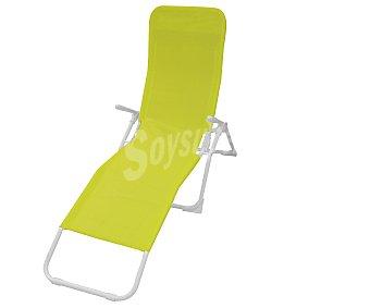 GARDEN STAR Tumbona plegable y basculante para jardín. Fabricada en acero de color negro, reposabrazos, asiento y respaldo de textileno verde 1 unidad
