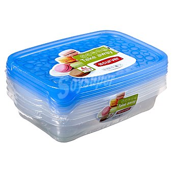 Curver Take away hermetico rectangular Pack 4 unidades de 1 l