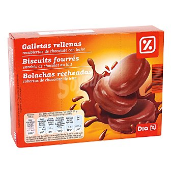 DIA Galleta de cacao rellena de crema de leche bañada en chocolate paquete