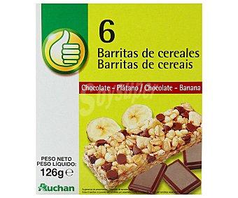 Productos Económicos Alcampo Cereales en barrita con chocolate y plátano Pack 6 x 21 g