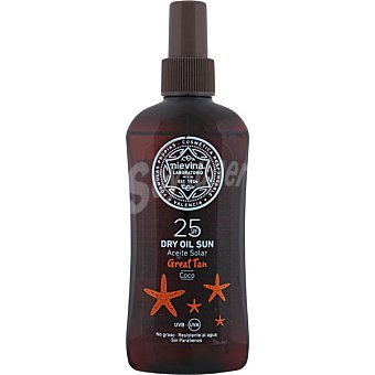 NIEVINA Aceite solar coco seco Great Tan FP-25 resistente al agua y no graso Spray 200 ml