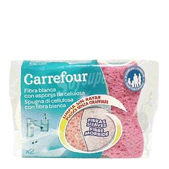 Carrefour Fibra blanca con esponja celulosa 2 ud