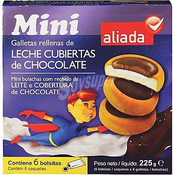 Aliada Mini galletas rellenas de leche cubiertas de chocolate Estuche 225 g
