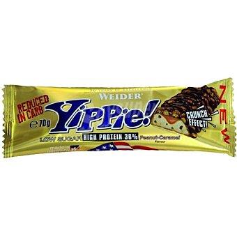 WEIDER Yippie Barrita sabor cacahuete caramelo baja en azúcares y carbohidratos 36% proteína  envase de 70 g