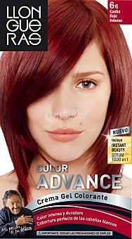 Llongueras Tinte Color Advance caoba rojo intenso nº 6.6 crema gel colorante caja 1 unidad Caja 1 unidad