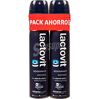 Lactovit Desodorante hombre con sales de calcio y antitranspirantes sin alcohol pack 2 spray 200 ml Pack 2 spray 200 ml
