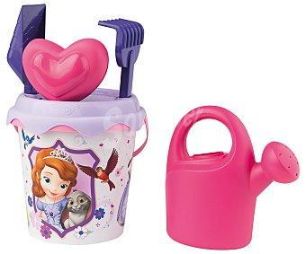 DISNEY Conjunto de juguetes de playa (pala, rastrillo, regadera...) y un cubo para transportalos y guardarlos con el diseño de la princesa Sofia 1 unidad