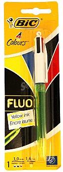 Bic Bolígrafo retráctil del tipo roller, con punta media con grosor de escritura de 1 milímetro y tinta líquida azul, negra y roja y otra punta gruesa con grosor de escritura de 1.6 milímetros y con tinta amarilla fluorescente 1 unidad