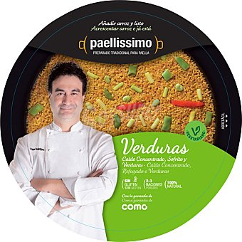 PAELLISSIMO Preparado para paella de verduras añadir arroz y listo 2-3 raciones bandeja de 355 g