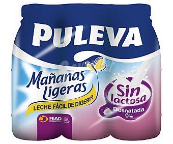"""Puleva Leche desnatada """"mañanas ligeras"""", sin lactosa 6 unidades de 1 litro"""