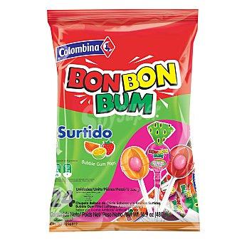 Colombina Bon Bon Bum caramelo de sabores surtidos relleno de chicle con palo Paquete 408 g (24 u)