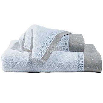 CASACTUAL Marta toalla jacquard de tocador con cenefa en gris