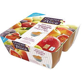 Charles & Alice Compota de manzana e higo 100% fruta sin azúcar añadido Pack 4 tarrinas 100 g