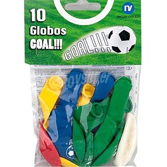 NV. Globos decorado fútbol 10 unidades